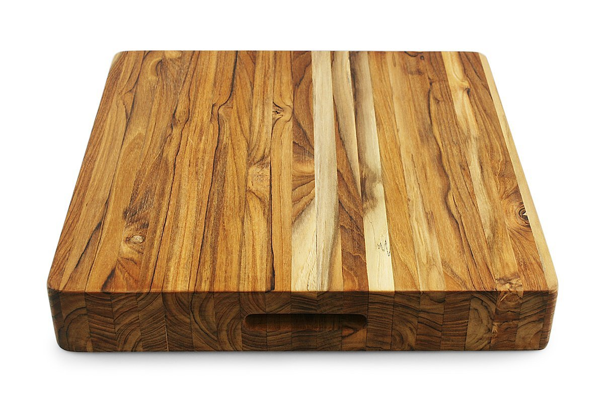 Terra Teak Extra Large Butcher Block - 18 x 18 x 3 Inch, Thick Square Cutting Board
