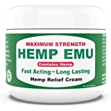 Hemp Emu Cream - Made in USA - 4 fl oz - Natural Cream for Discomfort in Knees, Joints, Muscles and Lower Back - Hеmp Oil Ext