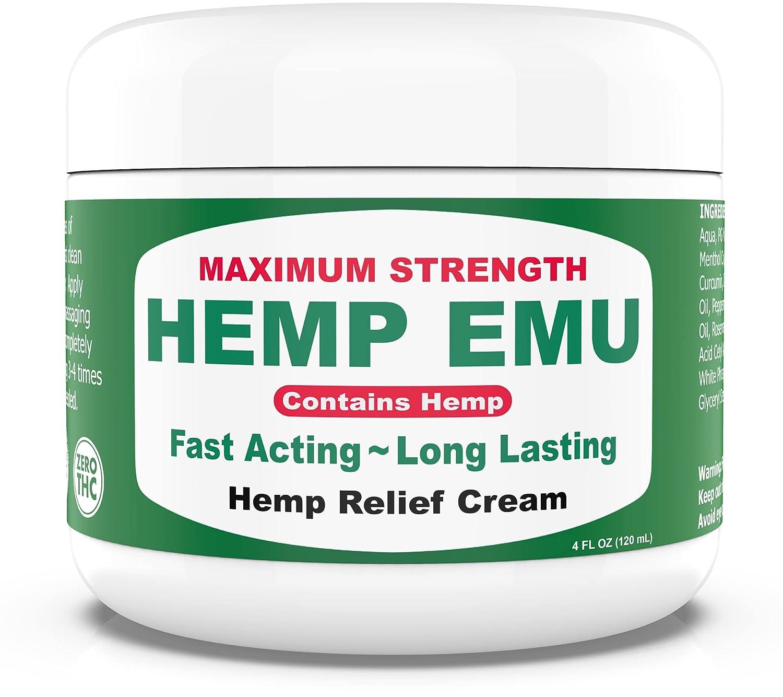 Hemp Emu Cream - Instant Natural Hemp Cream For Muscles & Joints - Maximum Strength Formula with Emu Oil, Hemp Oil, Aloe Vera, & Natural Oils - Made with Safe, Organic Ingredients- 4oz.
