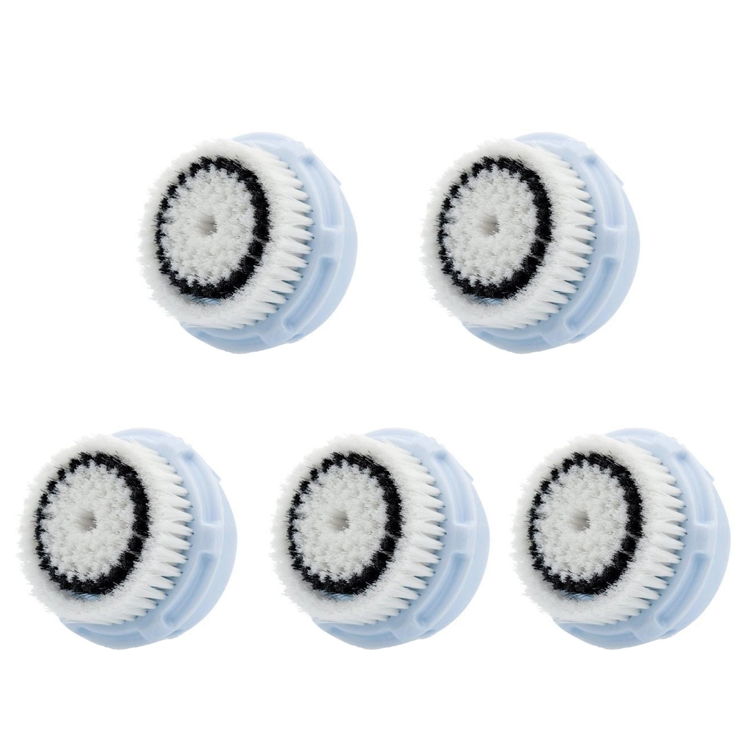 LSQtronics Delicate Facial Brush Heads for Clarisonic. Face Cleansing Brush Heads for Daily Skin Care. Compatible with Clarisonic MIA, MIA 2, ARIA, PRO and PLUS Cleansing Systems. (5-Pack Delicate Brush Head)
