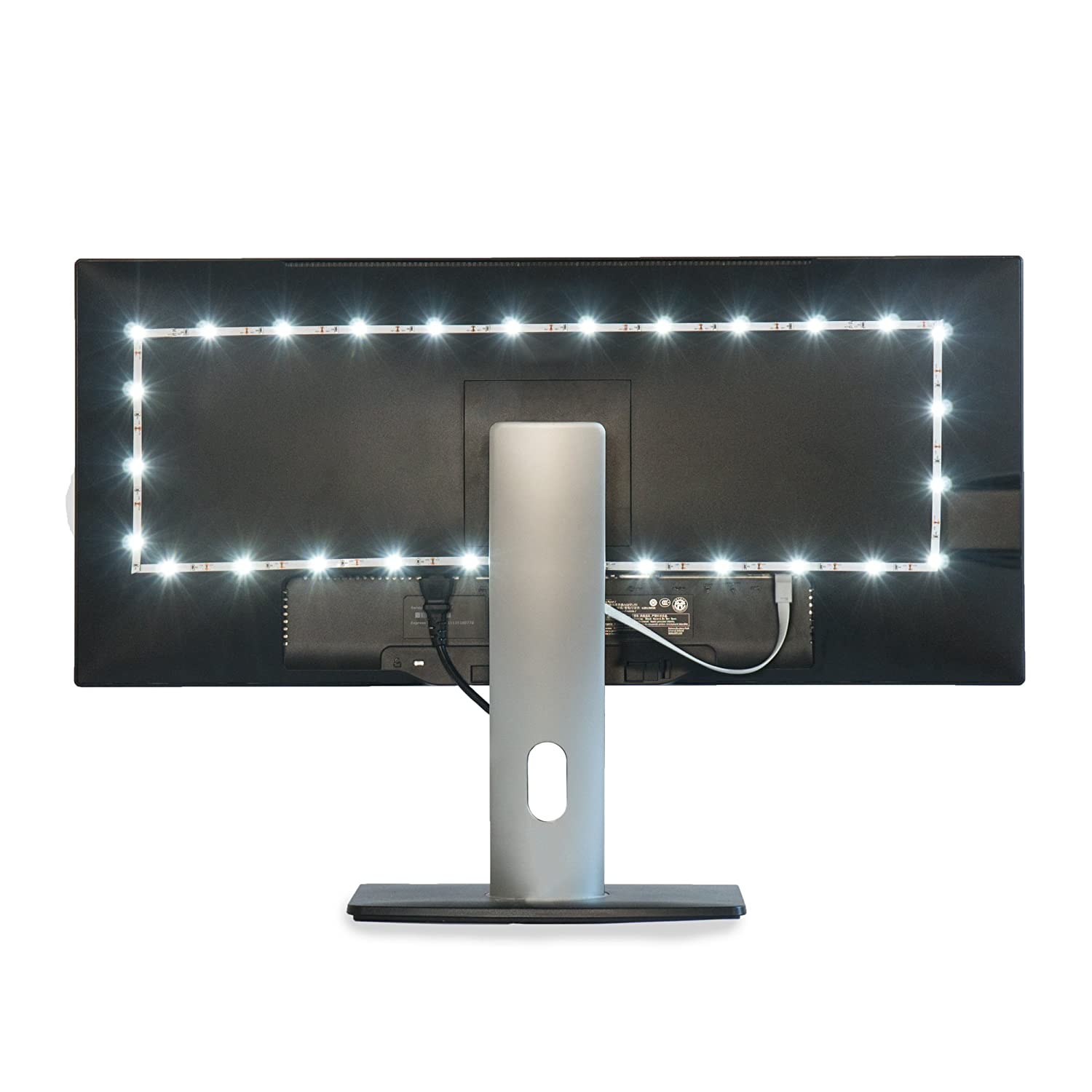 "Luminoodle TV Bias Lighting - USB Powered LED Light Strip Kit - TV Backlight Home Theater Light System - White - Medium (24"" - 29"" TV)"