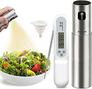 Oil Sprayer for Cooking, 100ml Olive Oil Dispenser Bottle Spray Mister with Meat Thermometer, Stainless Steel Oil Spritzer Bottles for Salad, BBQ, Kitchen Baking, Roasting,Air Fryer,Frying