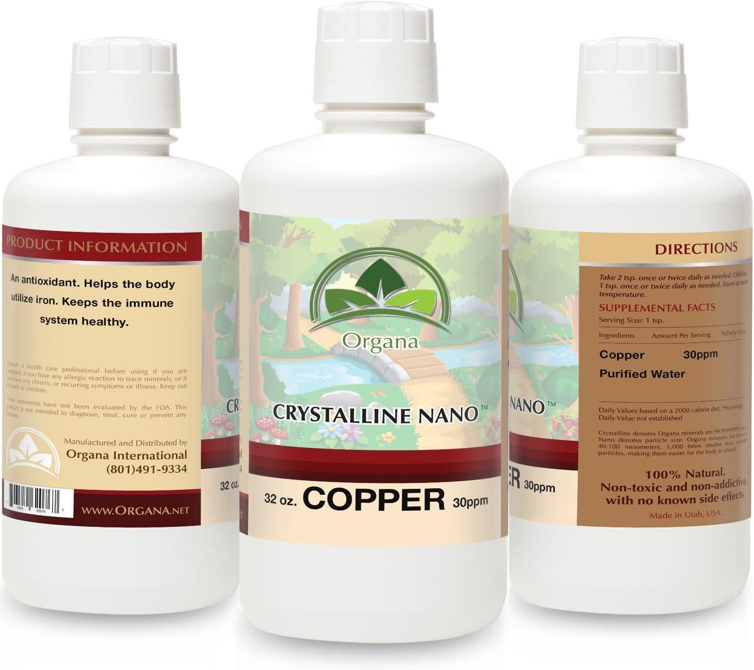 The Best Nano Colloidal Copper - 30 PPM of Colloidal Copper - Colloidal Minerals -Colloidal Copper Liquid (32oz)