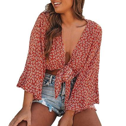 Clerance venta! Joint Fashion blusa con cuello en V para mujer ...