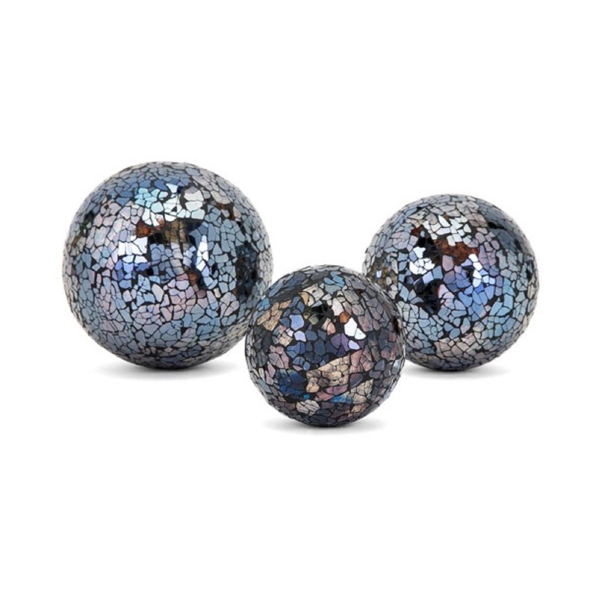 CC Home Furnishings Set of 3 Blue Mosaic Deco Ball Decorations 5''
