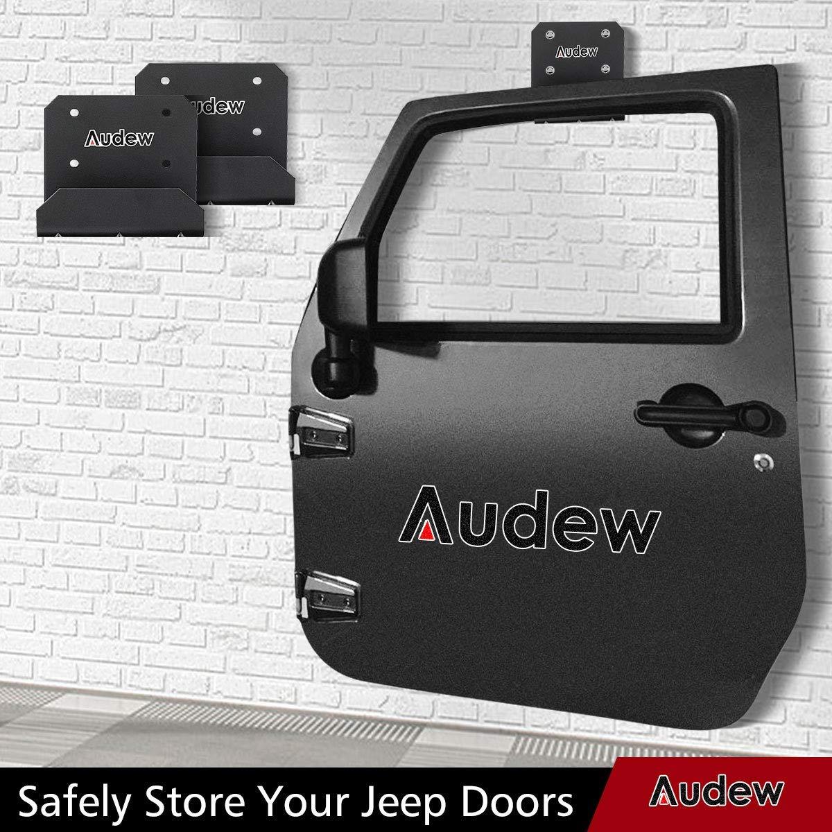 Audew Jeep Wrangler Door Hanger Storage Rack Set of 2 Hangers with 8 Screws,Vehicle Door on Wall Holder Bracket Fits for Jeep Wrangler CJ//YJ//TJ//LJ//JKU//JL