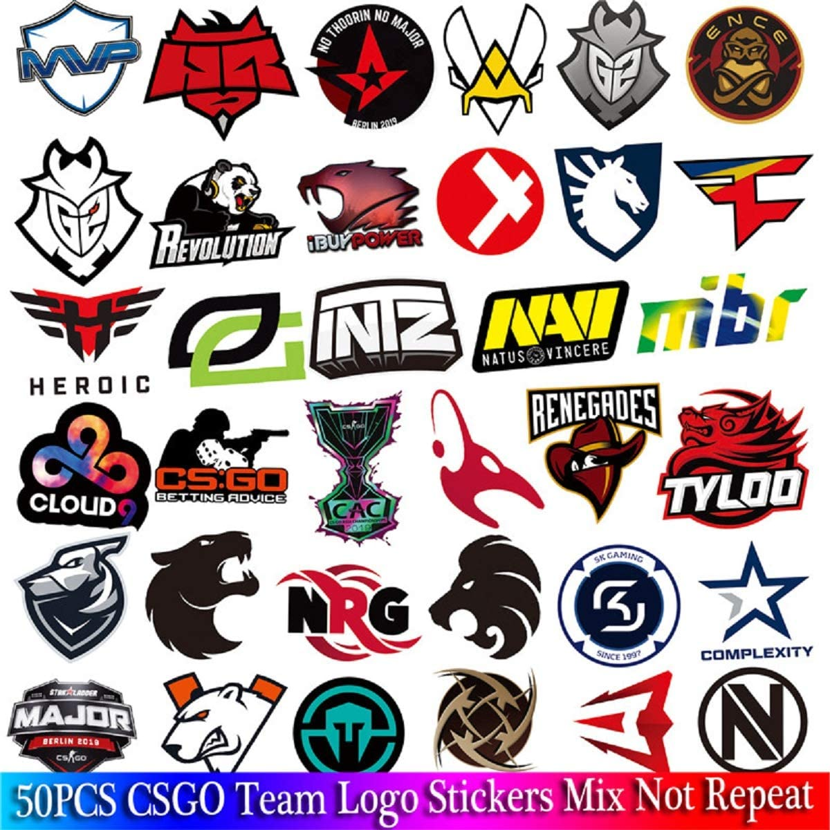 50 PCS Pack CS GO Logo Stickers Set for Boys Luggage Skateboard Laptop Mac Waterproof Stickers