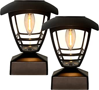 Solar Post Lights, 2 Pack Solar Post Cap Lights LED Filament Bulb Fence Post Solar Lights with Bases, Fits 4x4, 5x5 ,6x6 Posts