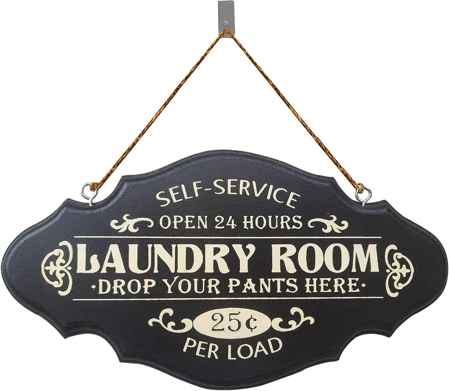 PXIYOU Rustic Laundry Room Wooden Sign Self Service Drop Your Pants Here Wood Wall Hanging Sign Plaque Home Decor Black 6X11Inch