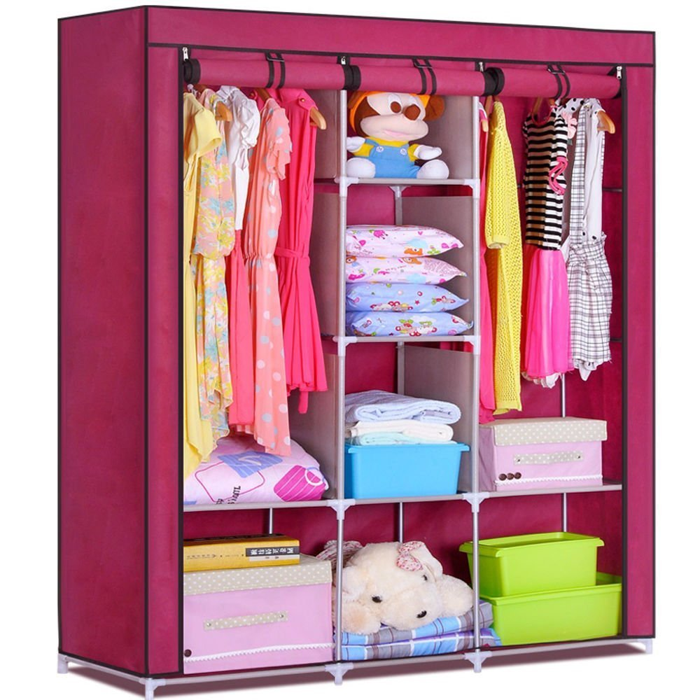 Generic Triple Portable Heavy Duty Clothes Wardrobe Closet Rack Cabinet Armoire Garment