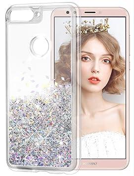 wlooo Funda Huawei Y7 2018, Glitter Liquid Funda Lujo Líquido Moda 3D Bling Cubierta Flowing