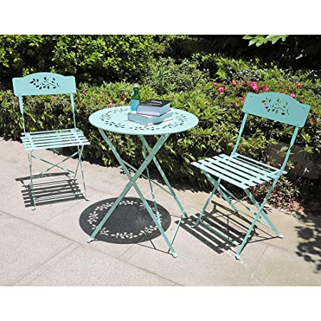 Orange-Casual 3-Piece Outdoor Bistro Set Steel Folding Dining Table and Chairs Garden Backyard Patio Furniture, Floral Design – Turquoise