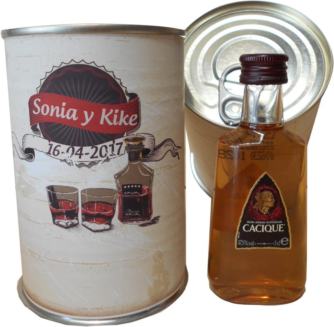 Botellin miniatura Ron Cacique en lata personalizada - Pack ...
