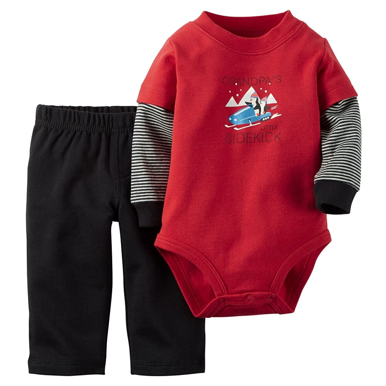 c140fddf3 Carters Baby Boys 2-Piece Bodysuit   Pant Set Sidekick Red 18M ...