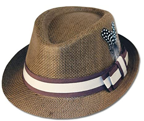 bcbdb0493578a Sakkas EH8241F - Unisex Structured 100% Paper Straw Matching Feather Band  Fedora Hat - Brown