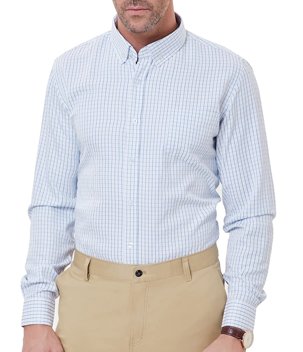 56f478bf This casual plaid shirt features check pattern, button-down collar, button  front closure, long sleeve, patch chest pocket. Popular gingham check style  with ...