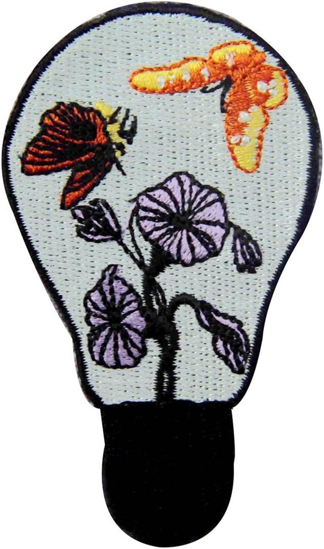 dise/ño de Mariposa y flor en la l/ámpara Parche termoadhesivo para la ropa