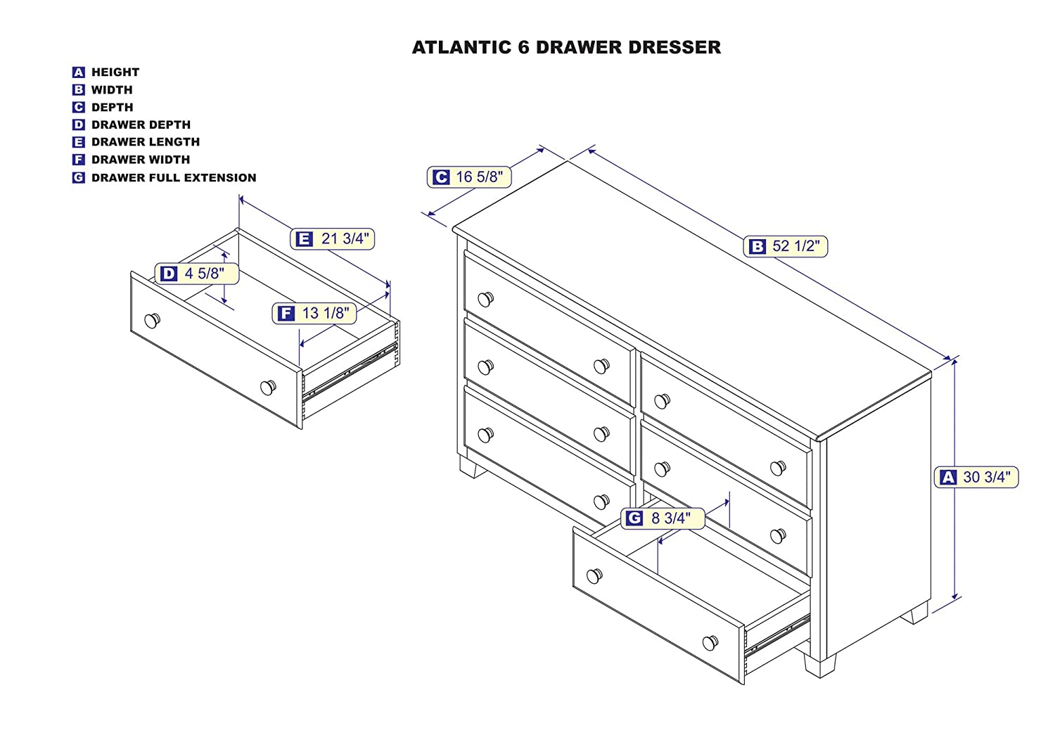 Atlantic 6 Drawer Dresser 54 Inches White Kitchen If The Of A Schematic Is Really Nice Like Engineer Who Dining