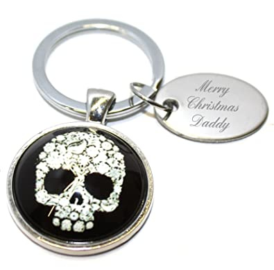 merry christmas daddy skull keyring in gift pouch aa38 - Merry Christmas Daddy