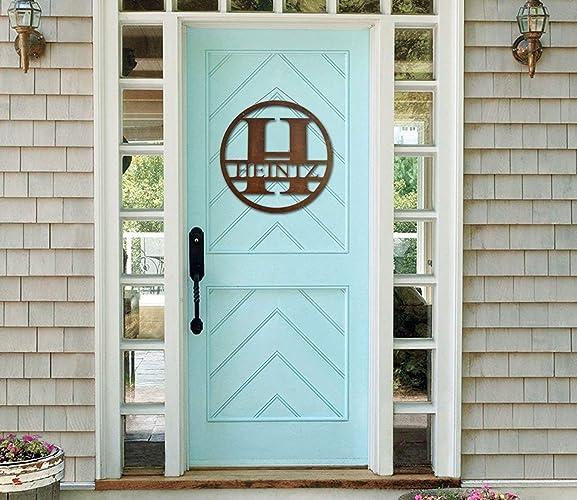 Amazon Com Monogram Front Door Circle Last Name Initial Door