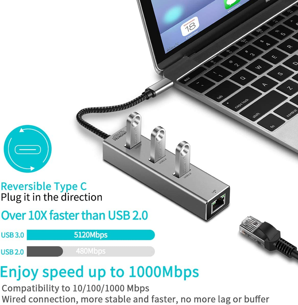 HP Spectre and More JAVONTEC USB C to Ethernet Adapter Surface Go USB 3.1 Type-C to 3 Port USB 3.0 Hub with RJ45 10//100//1000 Gigabit Ethernet LAN Wired Network Converter Compatible MacBook
