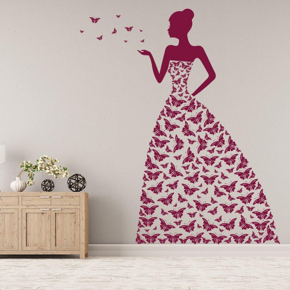 Prinzessin Wandaufkleber Schmetterling Wandtattoo Mädchen Schlafzimmer Kinderzimmer Wohnkultur verfügbar in 5 Größen und 25 Farben Extraklein Schwarz
