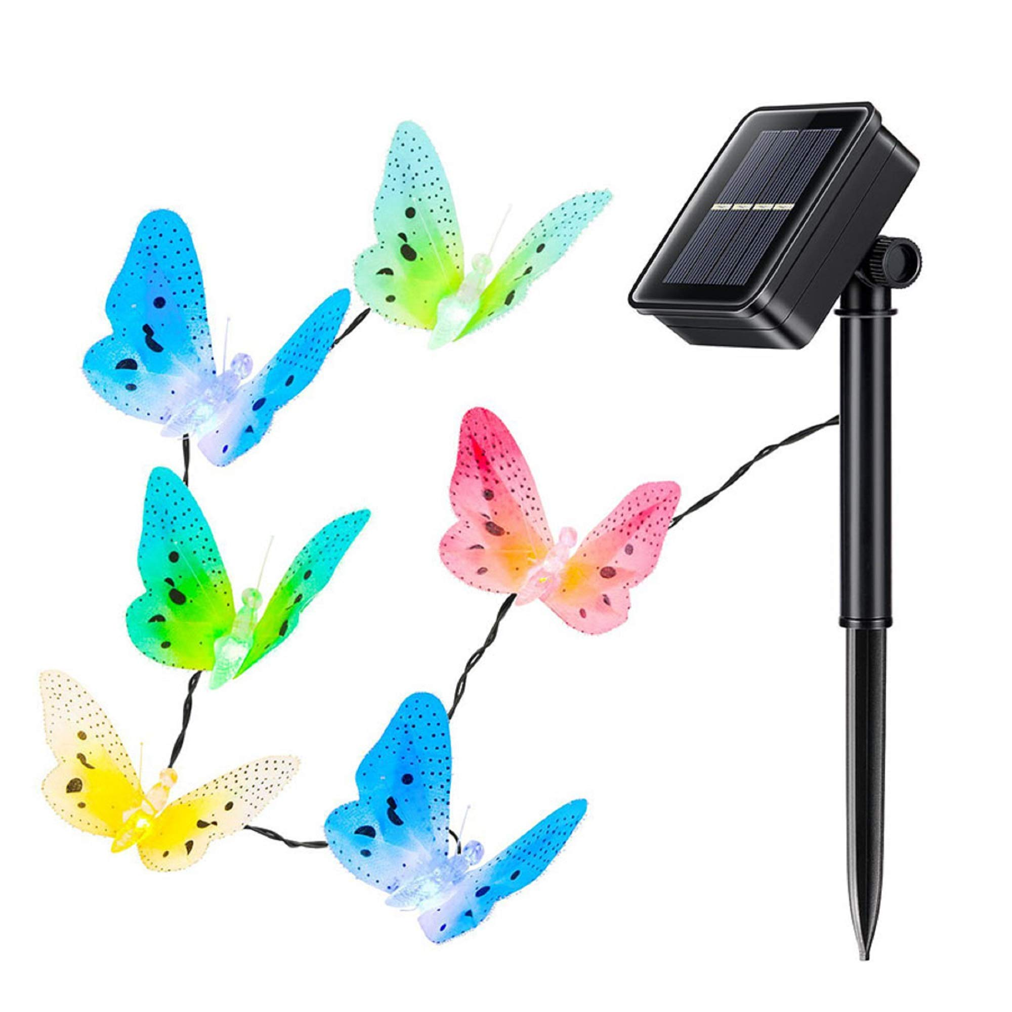Buterfly Solar Lights Decor Outdoor Fairy Garden Plants Flowers Stake with 12 LED Colorful Deciration