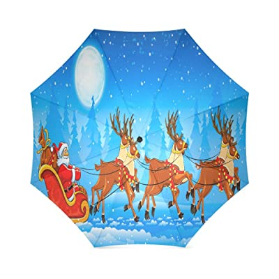 good Custom Santa Claus with Reindeer in Sledge and a full moon Compact Travel Windproof Rainproof Foldable Umbrella