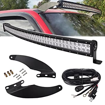 52 300w Led Curved Light Bar Flood Spot Combo Beam W Wiring Kit Upper Roof Windshield Mounting Bracket For 1994 2001 Dodge Ram 1500 2500 3500