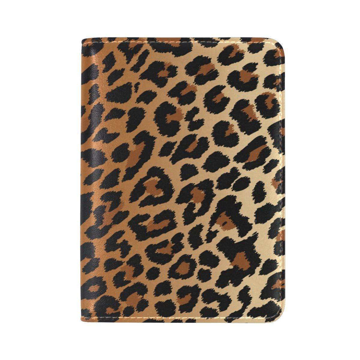 Sexy Leopard Grain Genuine Leather UAS Passport Holder Travel Wallet Cover Case