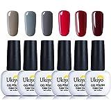 Gel Nail Polish, Ukiyo Soak Off UV LED Gel Polish Varnish Lacquers Manicure Gift Grey Pink Set Of 6pcs 8ml (#4)