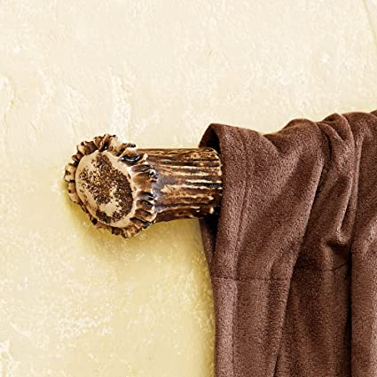 Black Forest Decor Antler Rustic Curtain Rod Ends