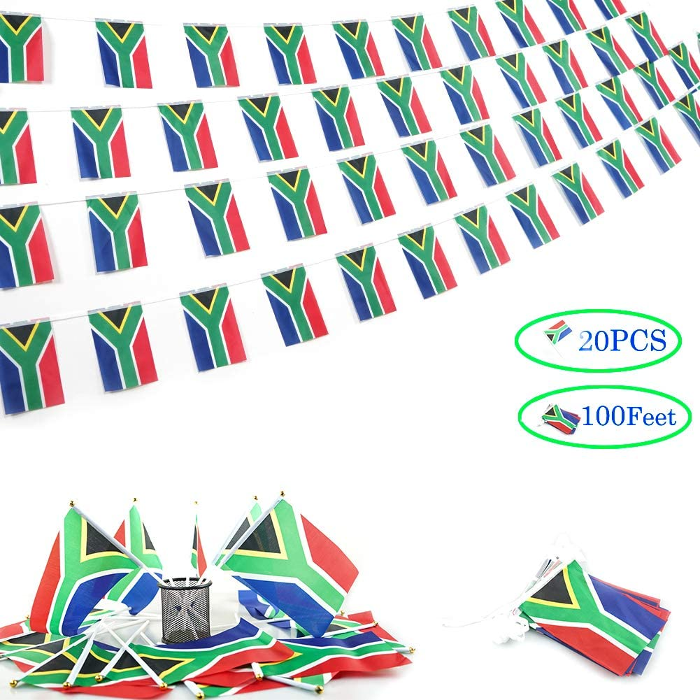 Cleverwolf South Africa String Flag and Stick Flag Set, 100 Feet with 76 Pennant Banners 20 Pack South African Stick Flags Perfect for Outdoor,Garden,Sports Event