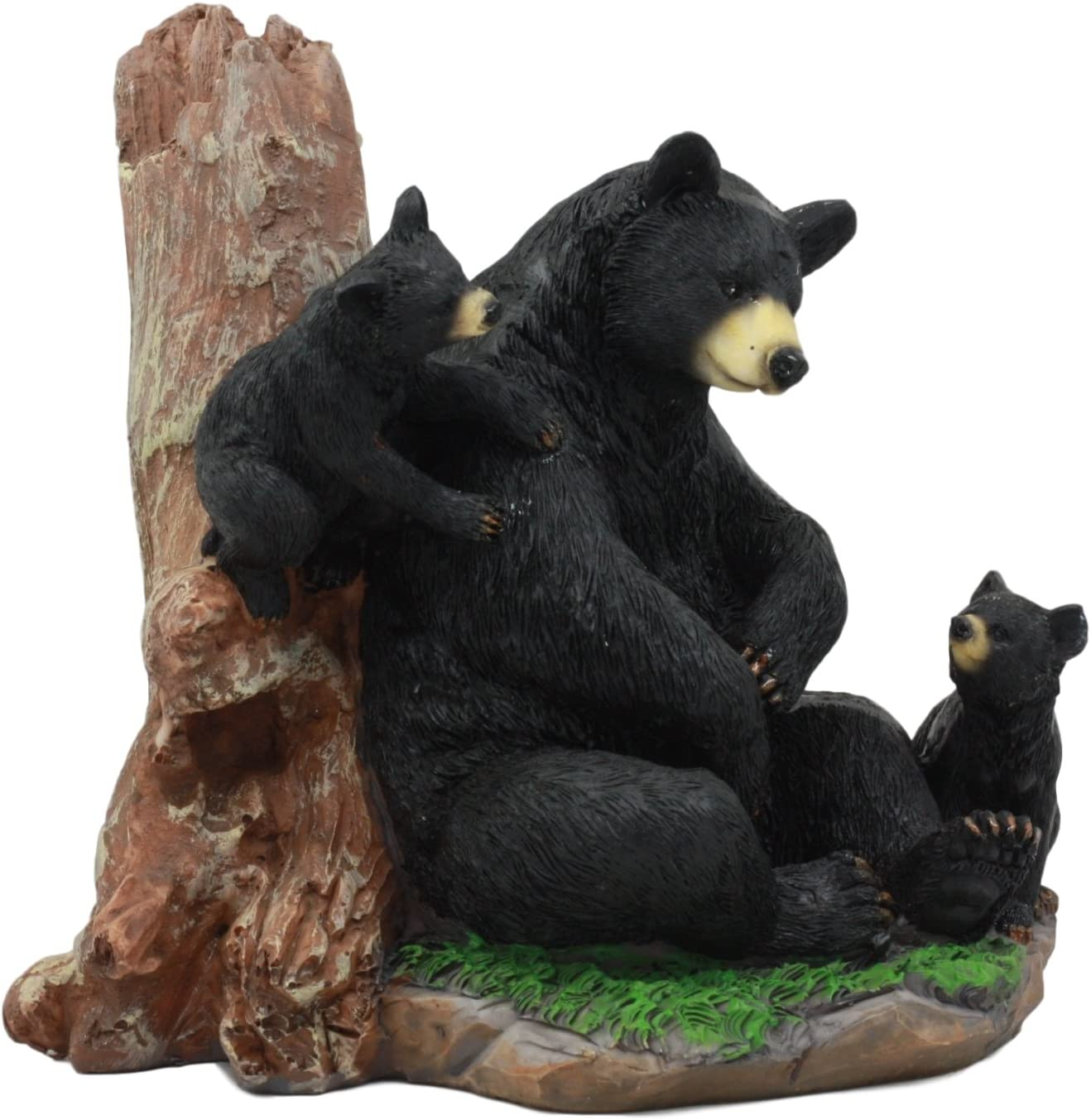 Mother Black Bear With Cubs In Outpost Camping Hammock Statue Wildlife Forest