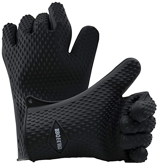 BBQ Butler Silicone Heat Resistant Cooking Gloves - Waterproof Barbecue Gloves - Designed in USA