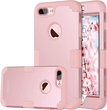 BENTOBEN Funda iPhone 8 Plus, Funda iPhone 7 Plus Original, 3 en 1 Carcasa Combinada PC