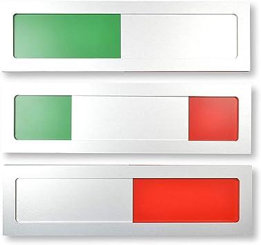 Cartel universal modelo S de aluminio con corredera, con indicador verde y rojo, 10 cm x 2,8 cm x 4 mm, superficie adhesiva 3M, placa para salas de reuniones: Amazon.es: Bricolaje y herramientas