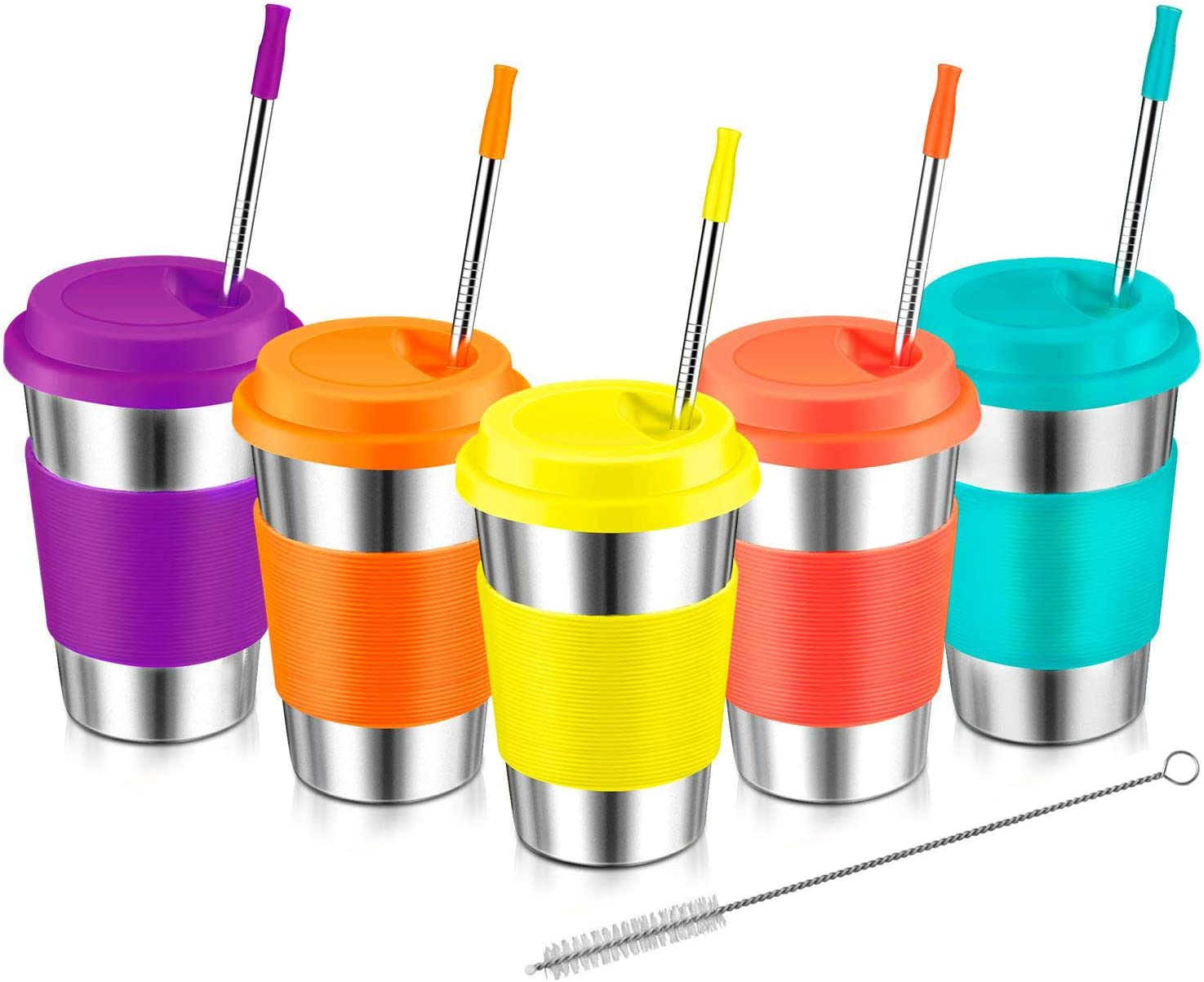 Stainless Steel Cups For Kids, Kereda 16oz. 5-Pack Tumblers Set Coffee Mugs Premium Drinking Glasses With Lids And Metal Straws Unbreakable