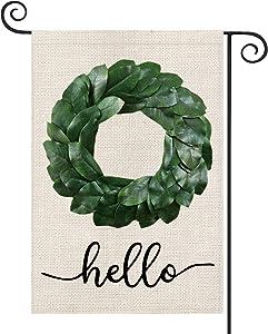 AVOIN Hello Magnolia Wreath Garden Flag Vertical Double Sized, Seasonal Spring Yard Outdoor Decoration 12.5 x 18 Inch