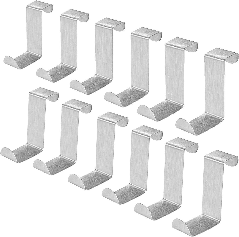 AUSTOR 12 Piezas Colgadores de Puerta Ganchos Puerta Percha de Acero Inoxidable para Puerta y Cajón (2cm - 4.5cm)