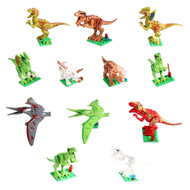 Zmoon Dinosaurier Spielzeug, 12 pcs Dinosaurier Bausteine 3D Puzzles Dinosaurier für Kinder
