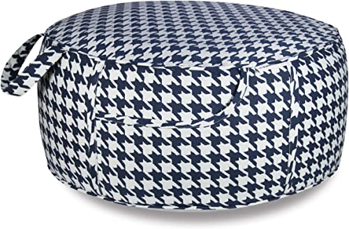 Outdoor Inflatable Ottoman Navy Round 21×9 Inch Plover Lattice Pattern Patio Foot Stools and Ottomans Portable Foot Rest
