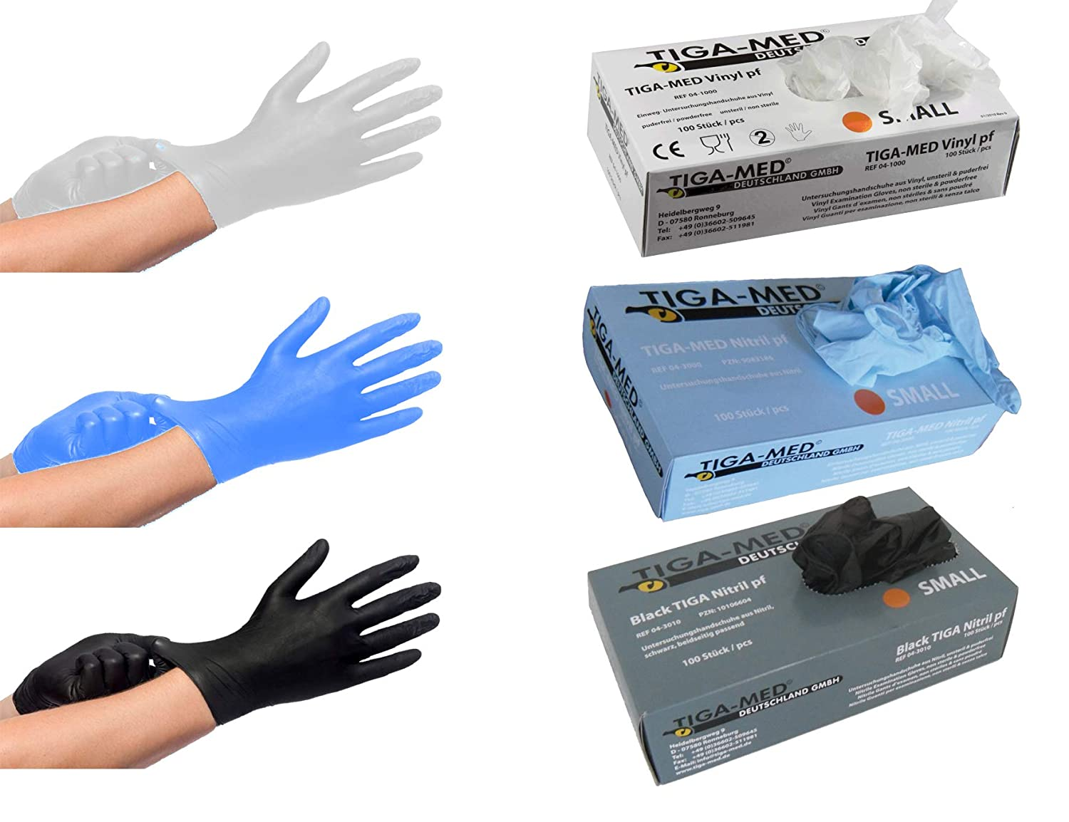 Tiga-Med Nitrile Gloves Powder Free Size Extra Large 5 x 100 Pieces Single Use Blue Latex Free by Tiga-Med