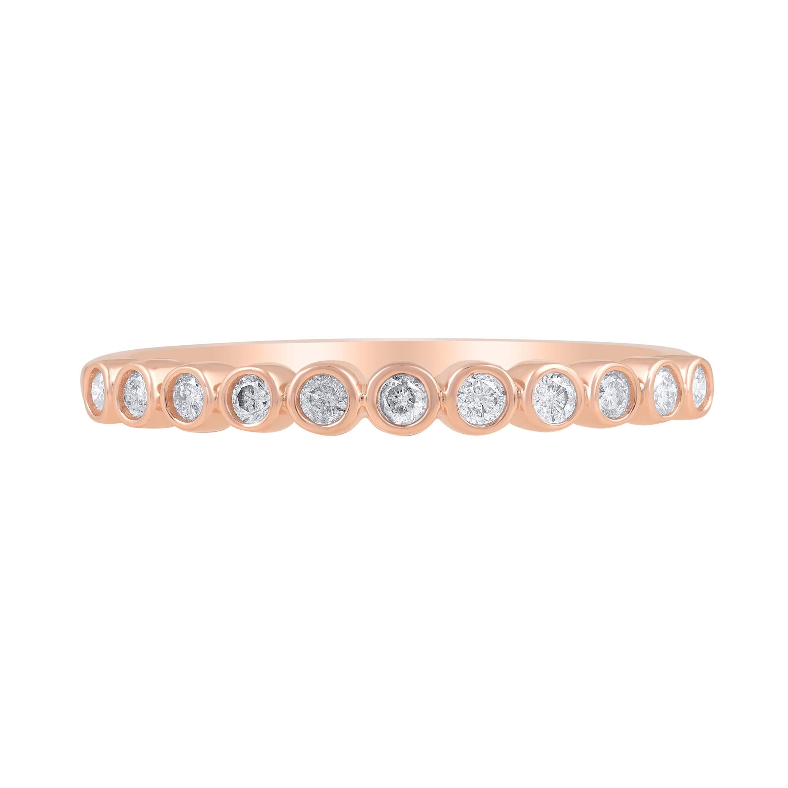 1/5 Carat Natural Diamond Band 14K Rose Gold (H-I Color, I2 Clarity) Diamond Band for Women Diamond Jewelry Gifts for Women, US Size 6