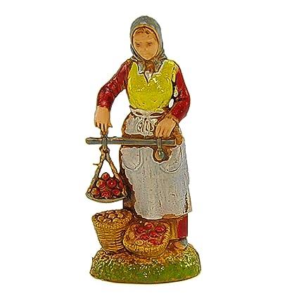 Landi clásico cm.6 Mujer con báscula y cestas de fruta