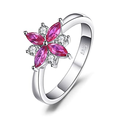 f580212f5e JewelryPalace Flowers 0.85ct Created Ruby Statement Ring 925 Sterling Silver  Size 6