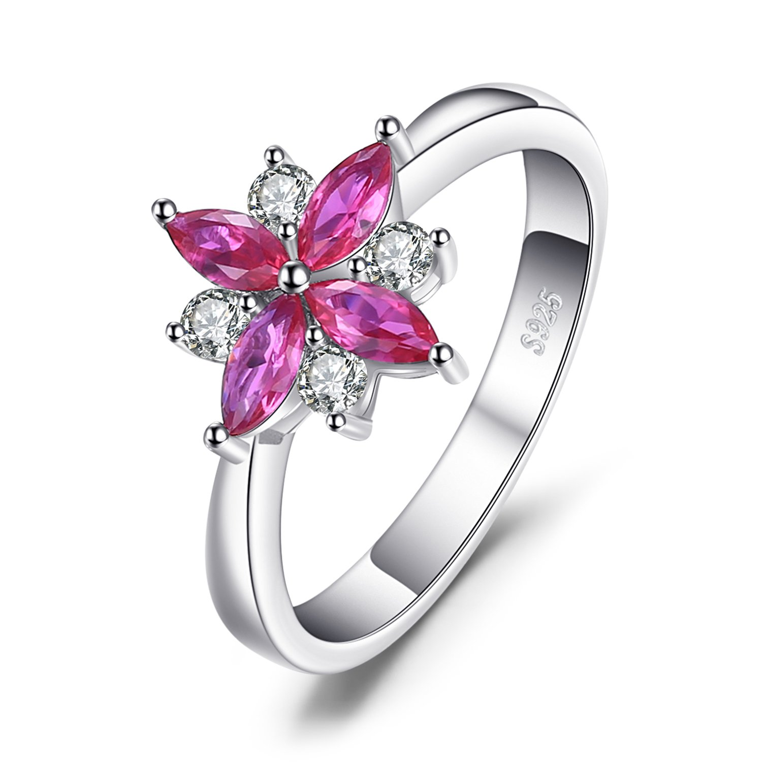 JewelryPalace Flowers 0.85ct Created Ruby Statement Ring 925 Sterling Silver Size 7