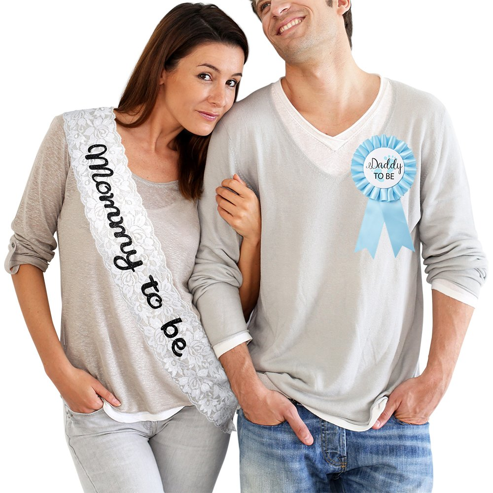 Mommy to Be Lace Sash Daddy to Be Tinplate Badge Combo Kit - Baby Shower Party Gender Reveals Party Gift (Blue)