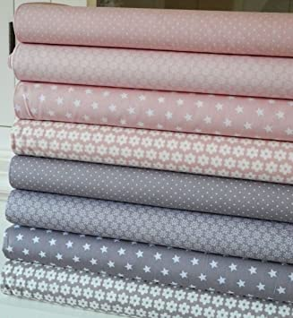 Lottashaus 8x Stoff ROSA / NUDE Taupe / Grau Stoffpaket Stoffe Patchwork  Sterne Tupfen Shabby Chic