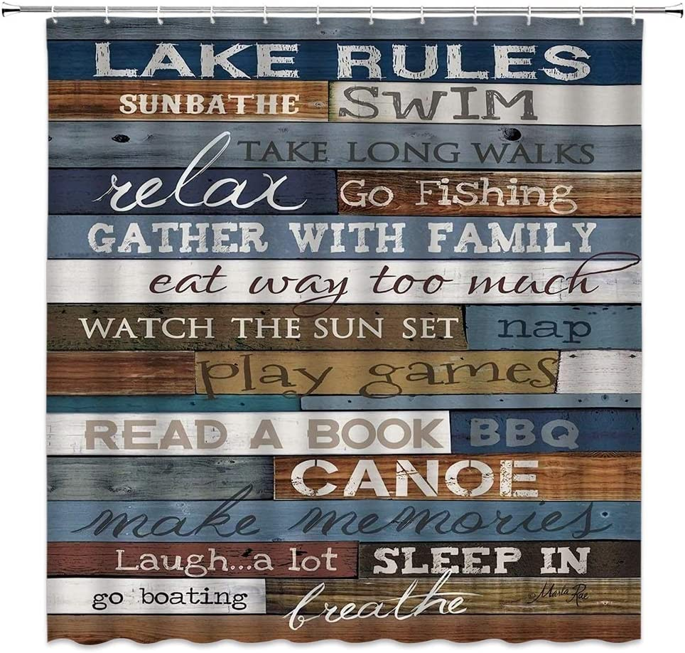 Lake Rules of Cabin Shower Curtain Funny Inspirational Quotes on Rustic Wooden Board Vintage Home Bathroom Decor Quick Dry Fabric Curtain with 12 Hooks,71x71 Inch,Blue Brown
